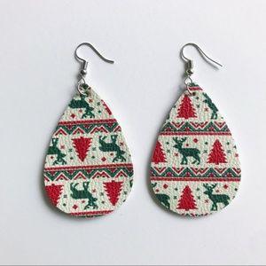 Christmas Tear Drop Faux Leather Earrings